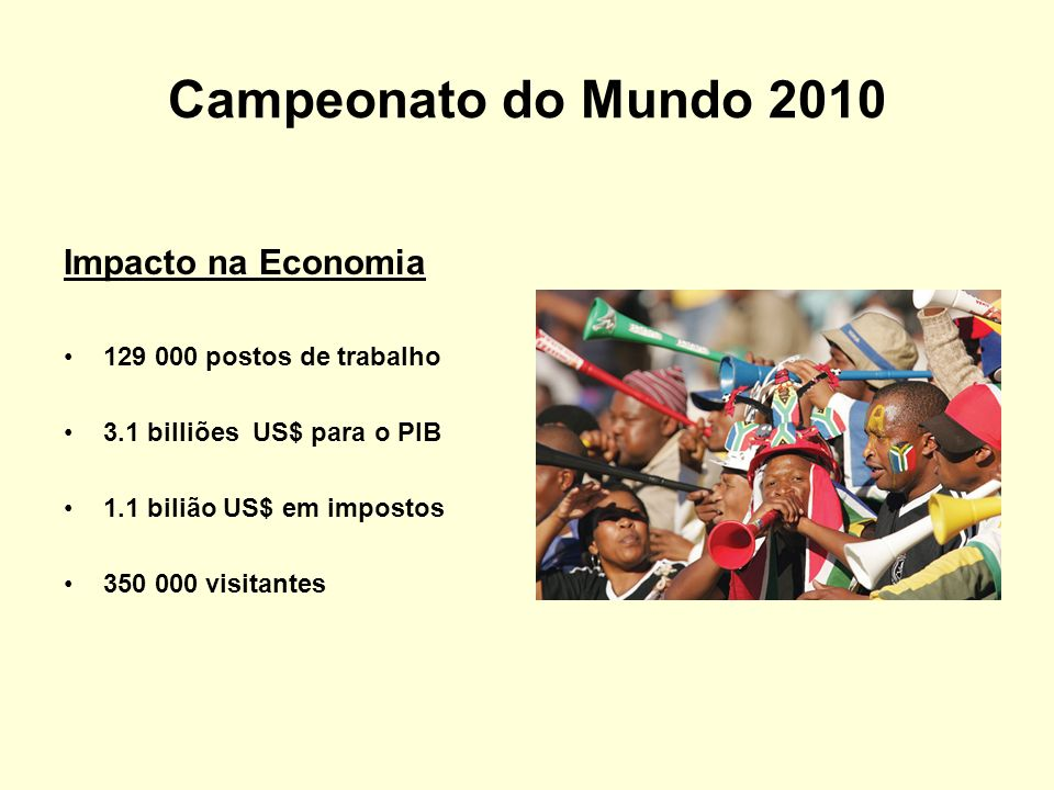 Campeonato do Mundo 2010 Impacto na Economia