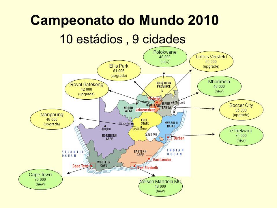 Campeonato do Mundo 2010 10 estádios , 9 cidades