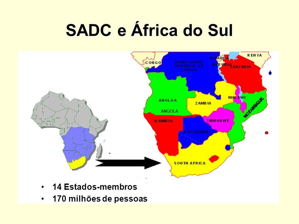 SADC e África do Sul 14 Estados-membros 170 milhões de pessoas