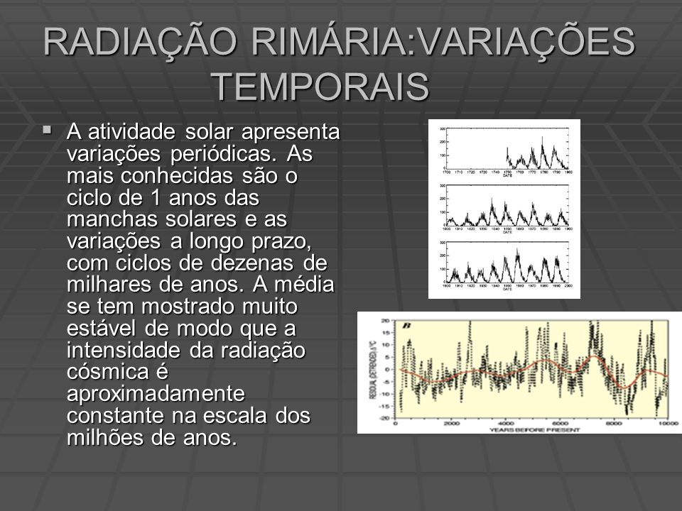 RADIAÇÃO RIMÁRIA:VARIAÇÕES TEMPORAIS