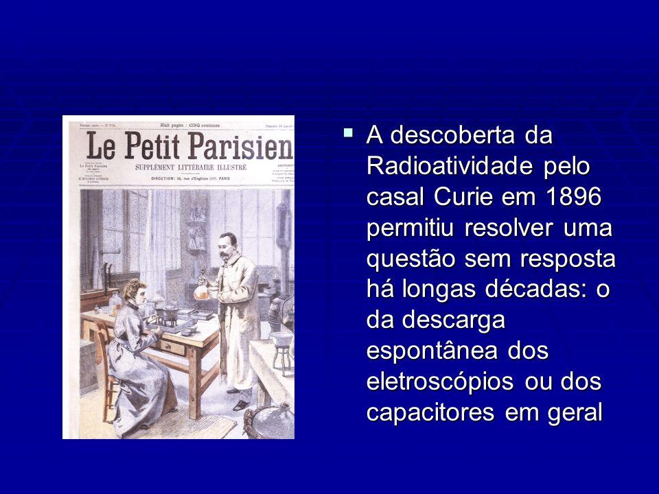A descoberta da Radioatividade pelo casal Curie em 1896 permitiu resolver uma questão sem resposta há longas décadas: o da descarga espontânea dos eletroscópios ou dos capacitores em geral