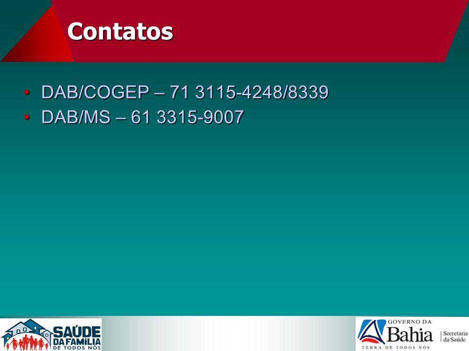 Contatos DAB/COGEP – 71 3115-4248/8339 DAB/MS – 61 3315-9007 12