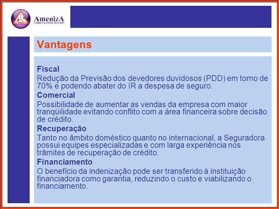 Vantagens Fiscal. Redução da Previsão dos devedores duvidosos (PDD) em torno de 70% e podendo abater do IR a despesa de seguro.