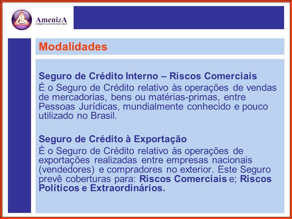 Modalidades Seguro de Crédito Interno – Riscos Comerciais