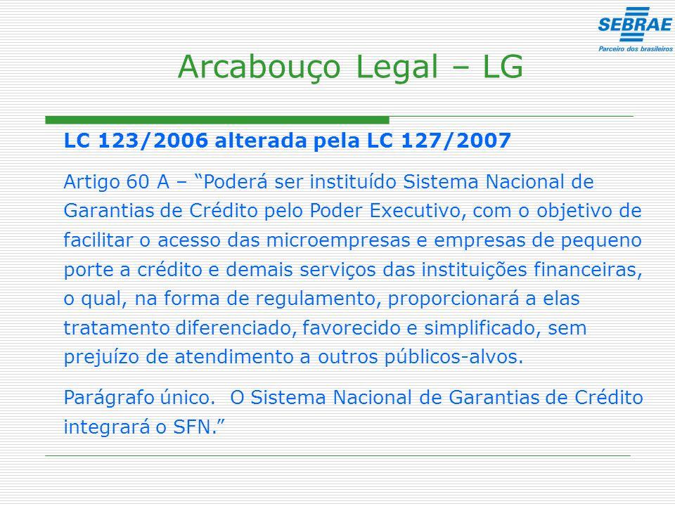 Arcabouço Legal – LG LC 123/2006 alterada pela LC 127/2007