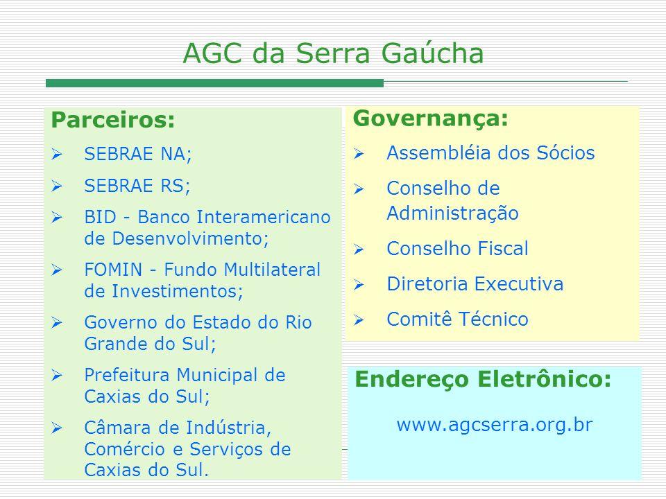 AGC da Serra Gaúcha Parceiros: Governança: Endereço Eletrônico: