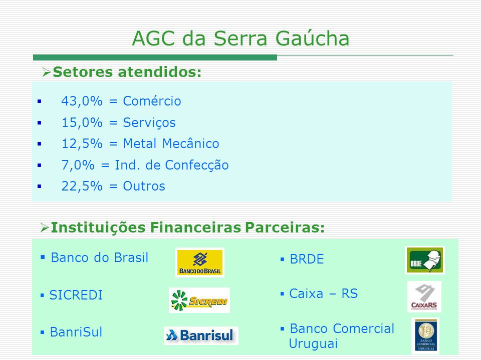 AGC da Serra Gaúcha Setores atendidos: