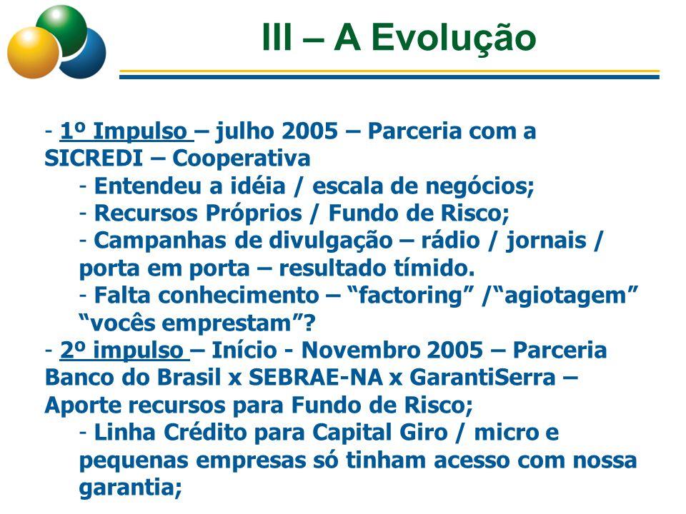 III – A Evolução 1º Impulso – julho 2005 – Parceria com a SICREDI – Cooperativa. Entendeu a idéia / escala de negócios;