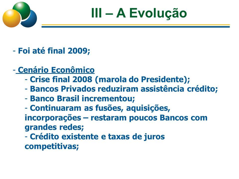 III – A Evolução Foi até final 2009; Cenário Econômico