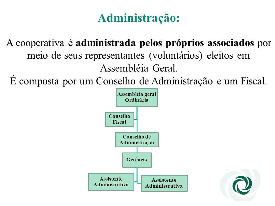 Administração: A cooperativa é administrada pelos próprios associados por. meio de seus representantes (voluntários) eleitos em.