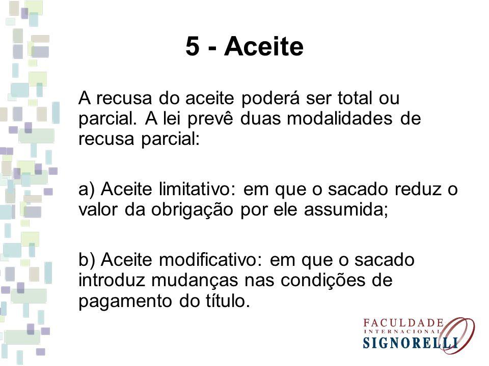 5 - Aceite A recusa do aceite poderá ser total ou parcial. A lei prevê duas modalidades de recusa parcial:
