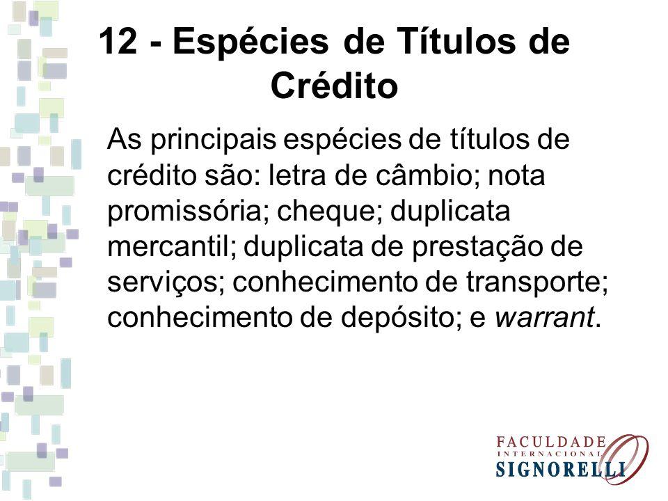 12 - Espécies de Títulos de Crédito