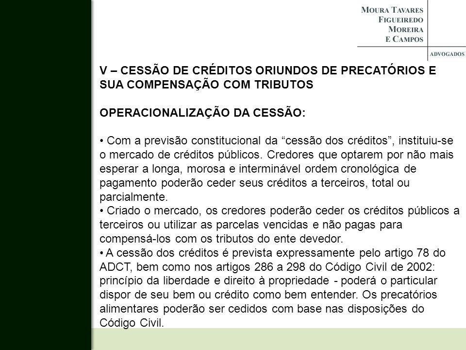 V – CESSÃO DE CRÉDITOS ORIUNDOS DE PRECATÓRIOS E SUA COMPENSAÇÃO COM TRIBUTOS