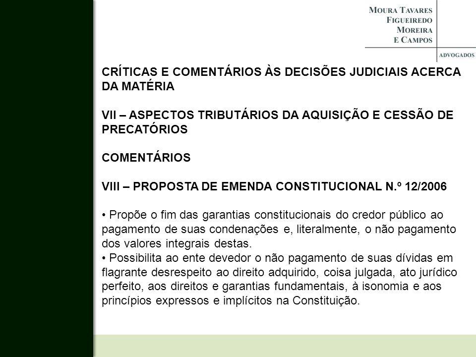 CRÍTICAS E COMENTÁRIOS ÀS DECISÕES JUDICIAIS ACERCA DA MATÉRIA
