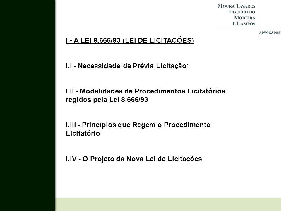 I - A LEI 8.666/93 (LEI DE LICITAÇÕES)