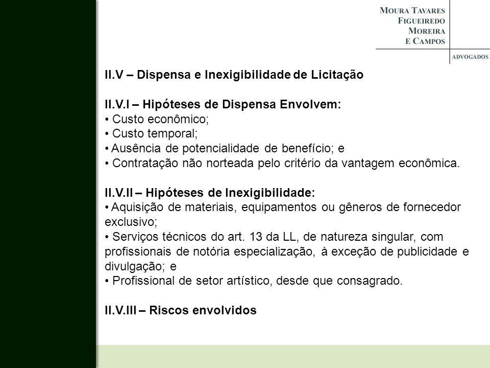 II.V – Dispensa e Inexigibilidade de Licitação