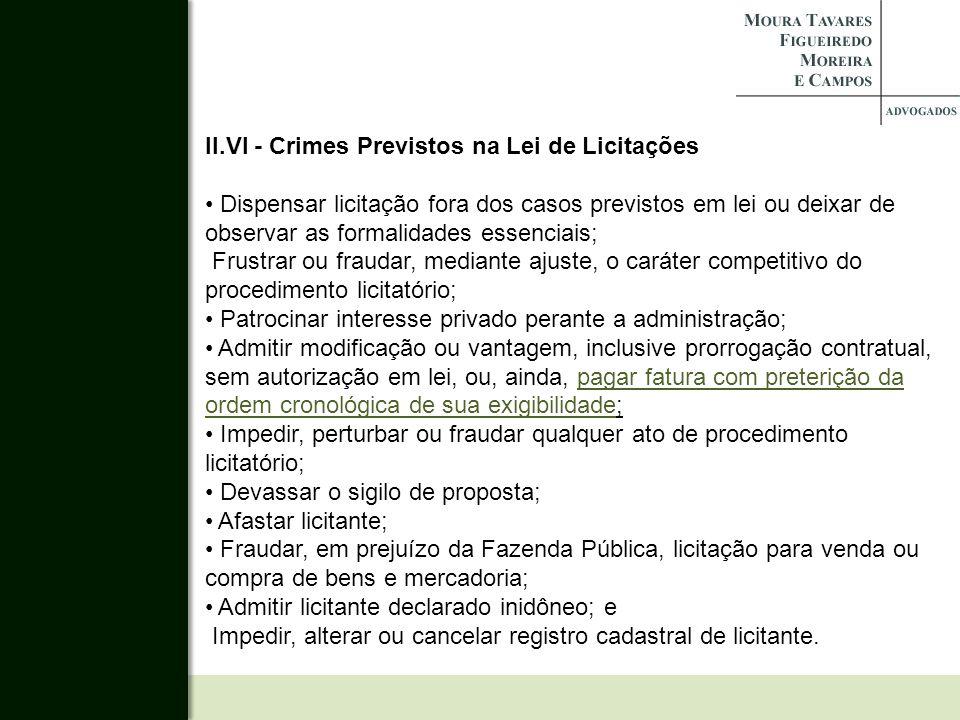 II.VI - Crimes Previstos na Lei de Licitações