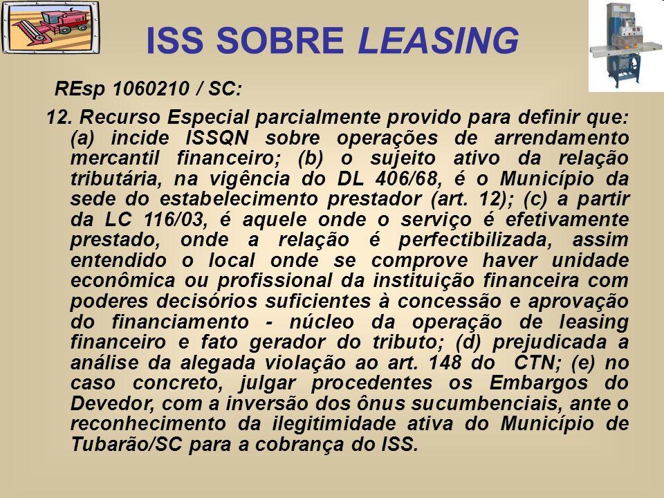 ISS SOBRE LEASING REsp 1060210 / SC: