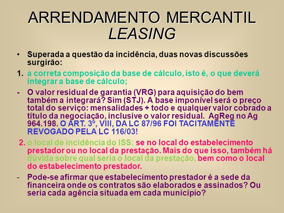 ARRENDAMENTO MERCANTIL LEASING