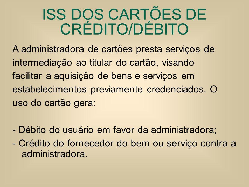 ISS DOS CARTÕES DE CRÉDITO/DÉBITO