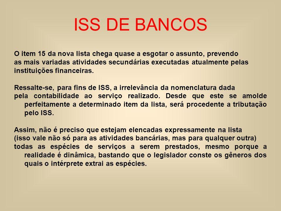 ISS DE BANCOS O item 15 da nova lista chega quase a esgotar o assunto, prevendo. as mais variadas atividades secundárias executadas atualmente pelas.