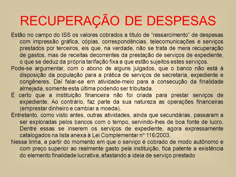 RECUPERAÇÃO DE DESPESAS