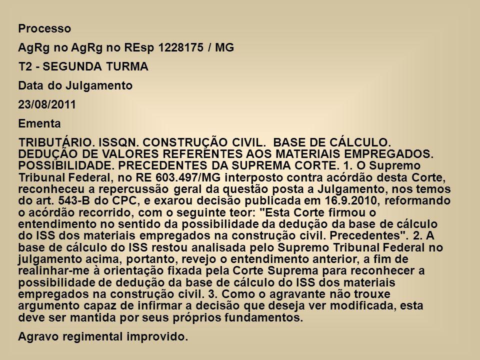 Processo AgRg no AgRg no REsp 1228175 / MG. T2 - SEGUNDA TURMA. Data do Julgamento. 23/08/2011. Ementa.