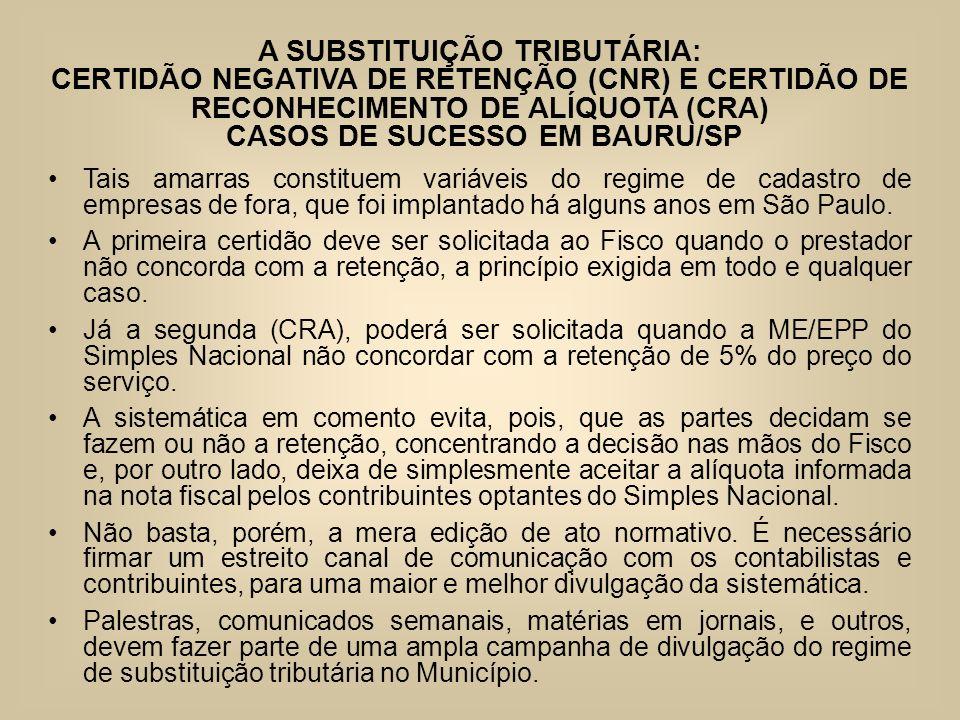 A SUBSTITUIÇÃO TRIBUTÁRIA: CERTIDÃO NEGATIVA DE RETENÇÃO (CNR) E CERTIDÃO DE RECONHECIMENTO DE ALÍQUOTA (CRA) CASOS DE SUCESSO EM BAURU/SP