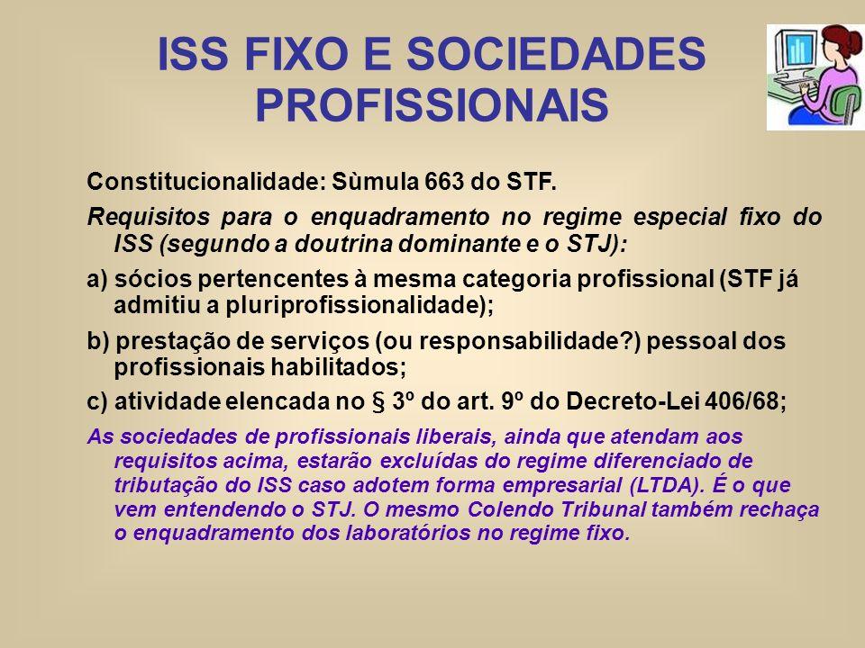 ISS FIXO E SOCIEDADES PROFISSIONAIS