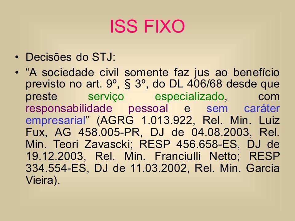ISS FIXO Decisões do STJ: