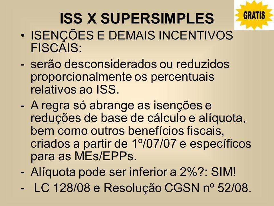 ISS X SUPERSIMPLES ISENÇÕES E DEMAIS INCENTIVOS FISCAIS: