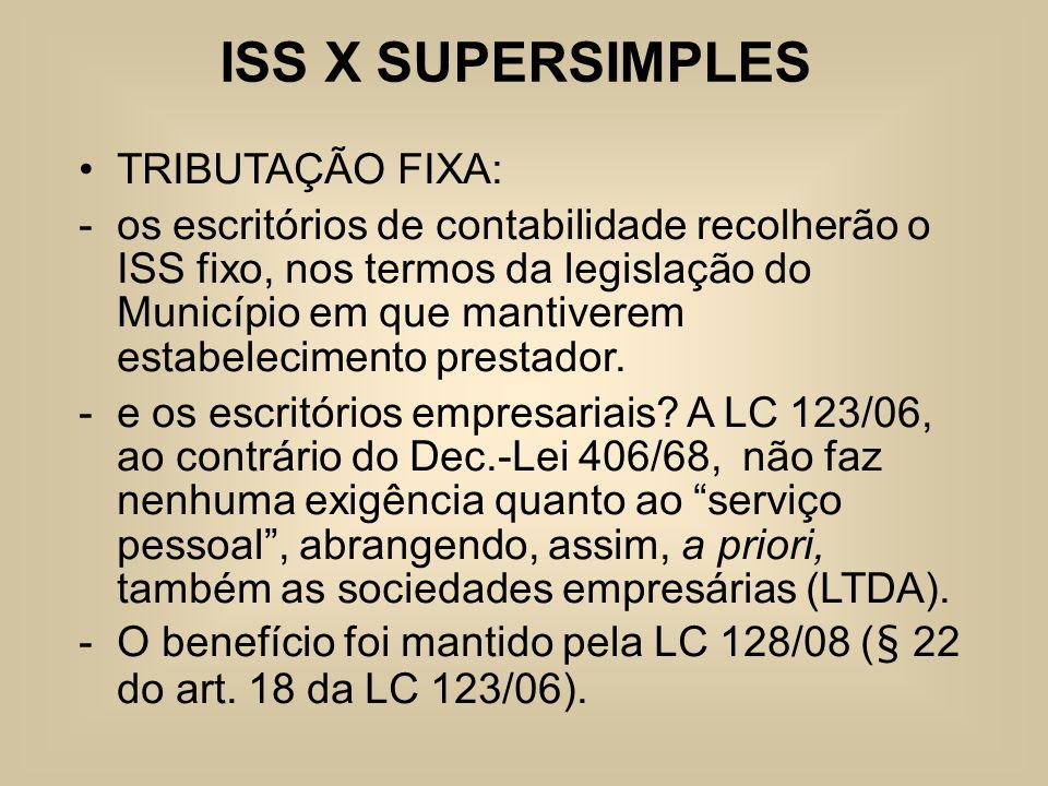 ISS X SUPERSIMPLES TRIBUTAÇÃO FIXA: