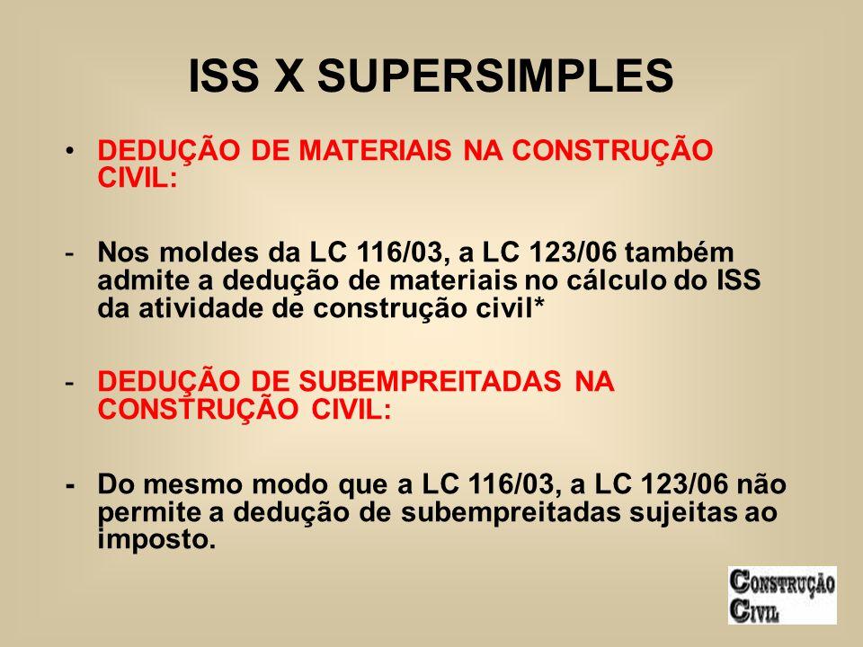 ISS X SUPERSIMPLES DEDUÇÃO DE MATERIAIS NA CONSTRUÇÃO CIVIL: