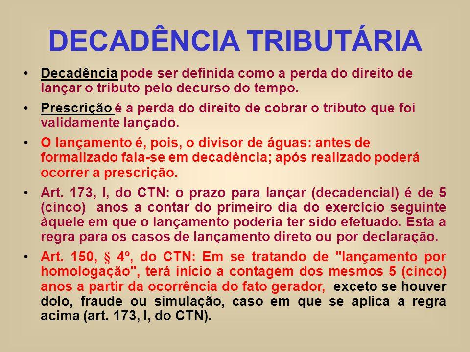 DECADÊNCIA TRIBUTÁRIA