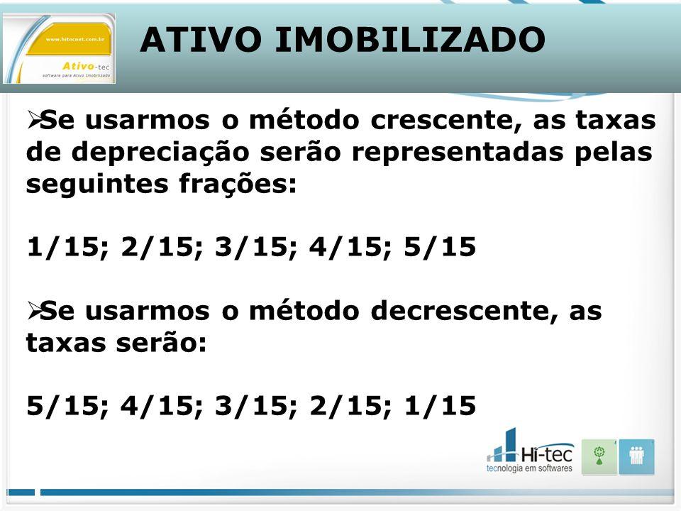 ATIVO IMOBILIZADO Se usarmos o método crescente, as taxas de depreciação serão representadas pelas seguintes frações: