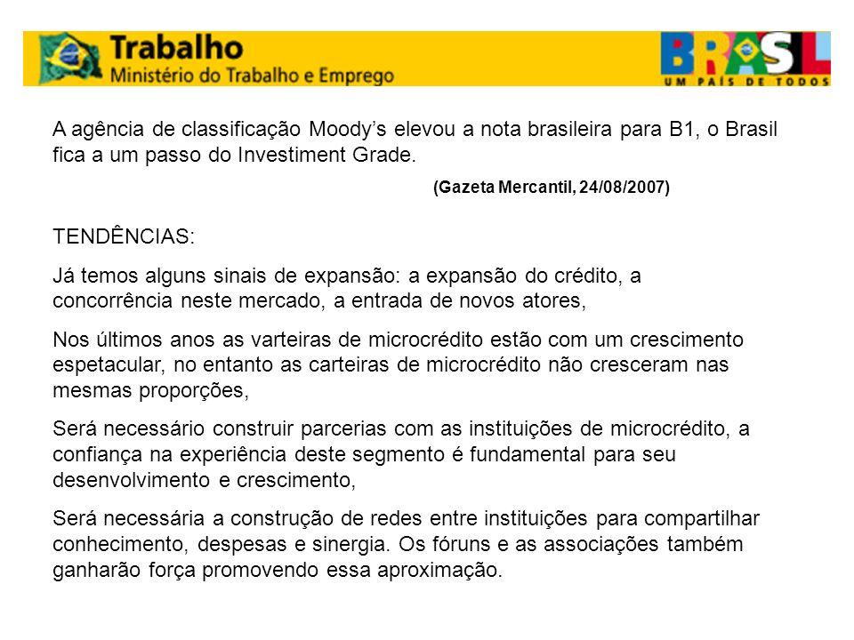 A agência de classificação Moody's elevou a nota brasileira para B1, o Brasil fica a um passo do Investiment Grade.