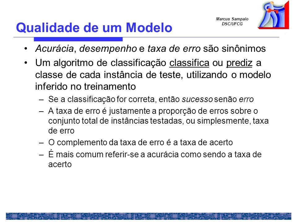 Qualidade de um Modelo Acurácia, desempenho e taxa de erro são sinônimos.