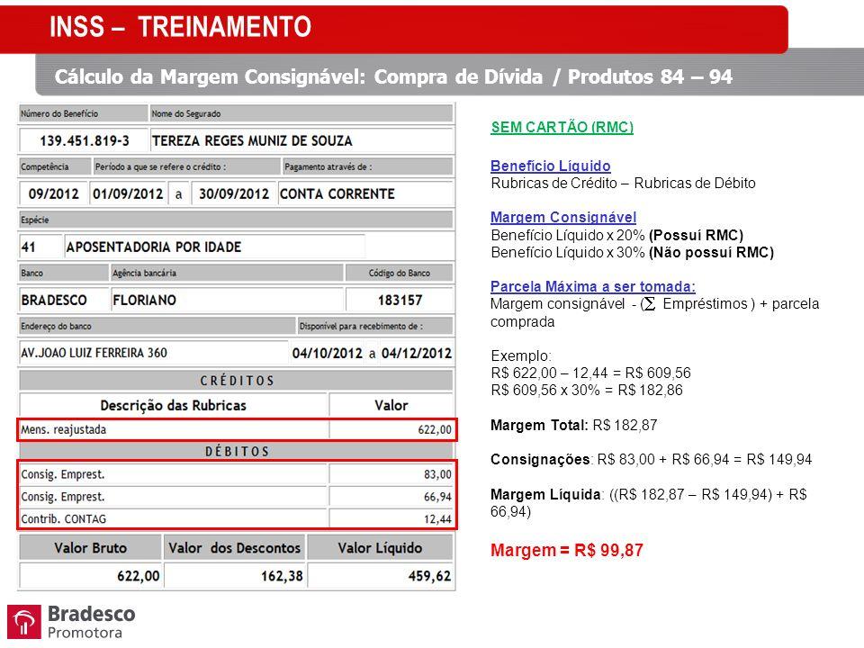 INSS – TREINAMENTO Cálculo da Margem Consignável: Compra de Dívida / Produtos 84 – 94. SEM CARTÃO (RMC)