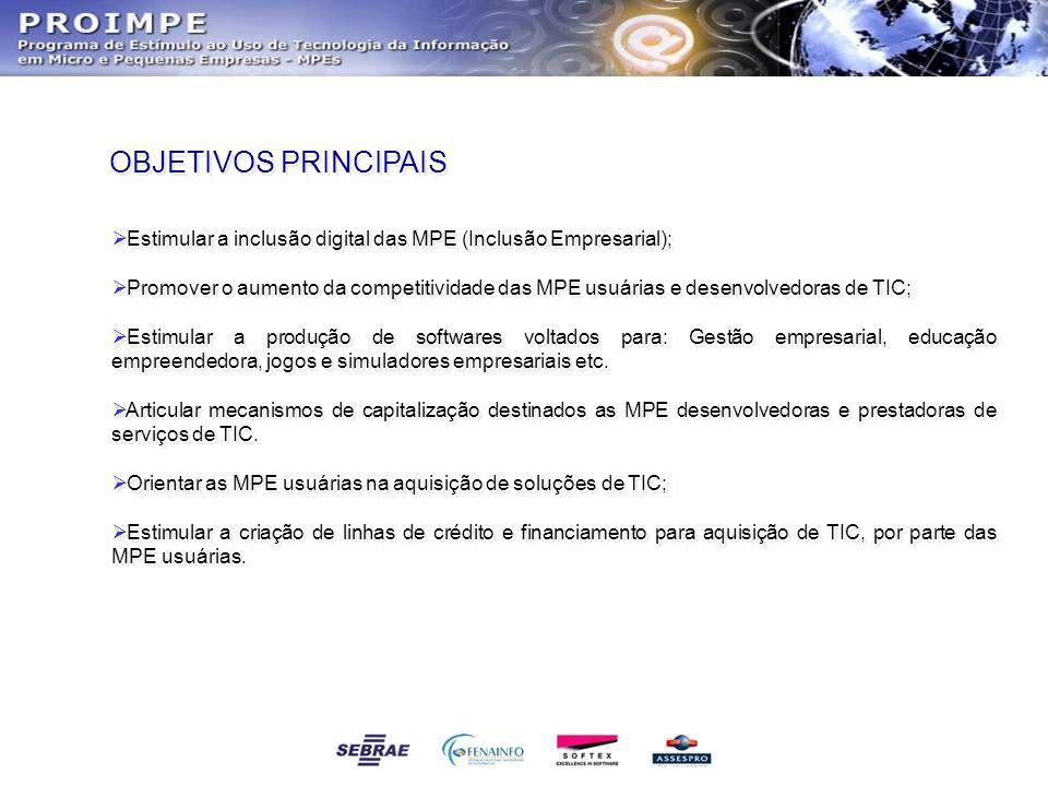 OBJETIVOS PRINCIPAIS Estimular a inclusão digital das MPE (Inclusão Empresarial);