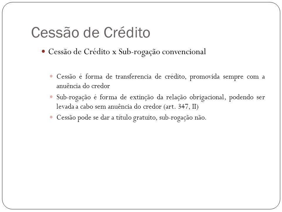 Cessão de Crédito Cessão de Crédito x Sub-rogação convencional