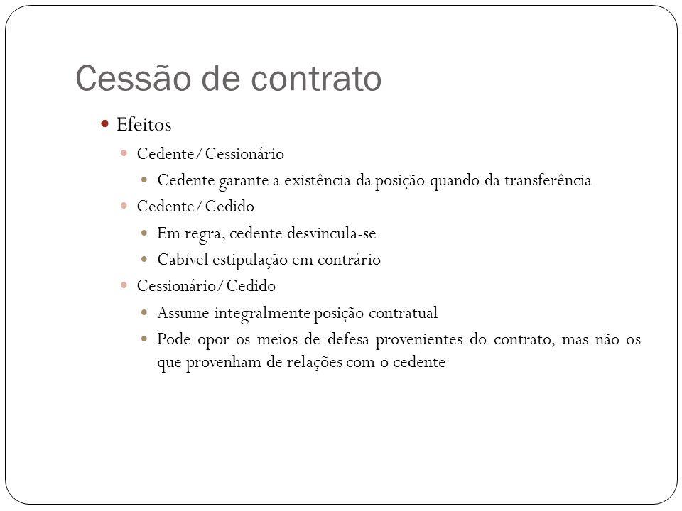 Cessão de contrato Efeitos Cedente/Cessionário
