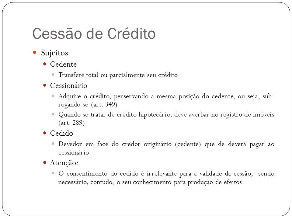 Cessão de Crédito Sujeitos Cedente Cessionário Cedido Atenção:
