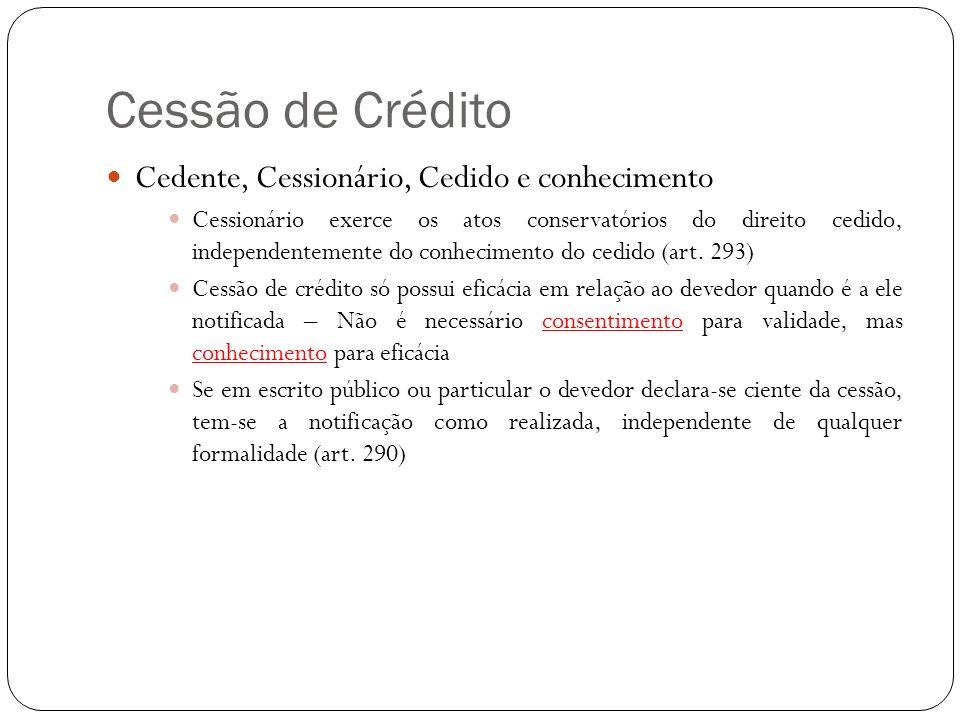 Cessão de Crédito Cedente, Cessionário, Cedido e conhecimento