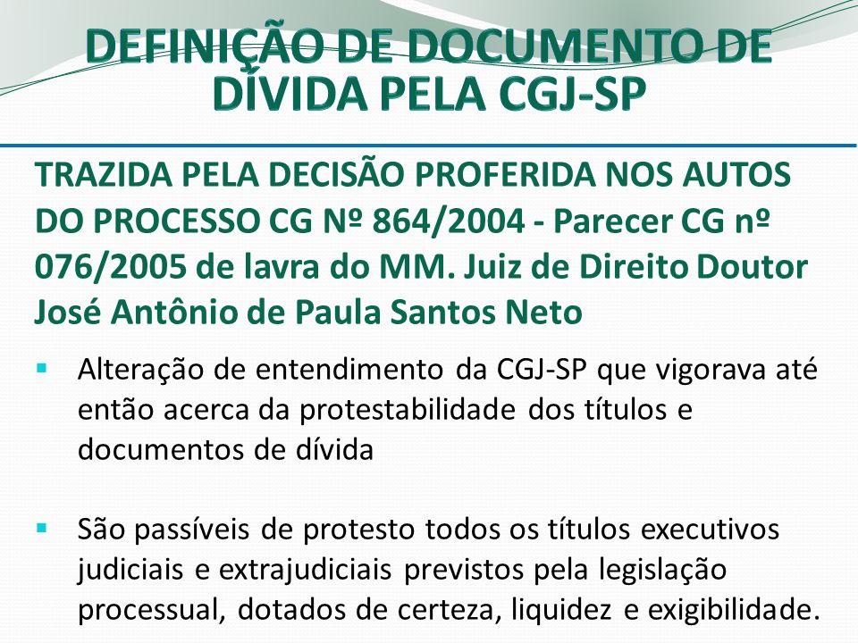DEFINIÇÃO DE DOCUMENTO DE DÍVIDA PELA CGJ-SP