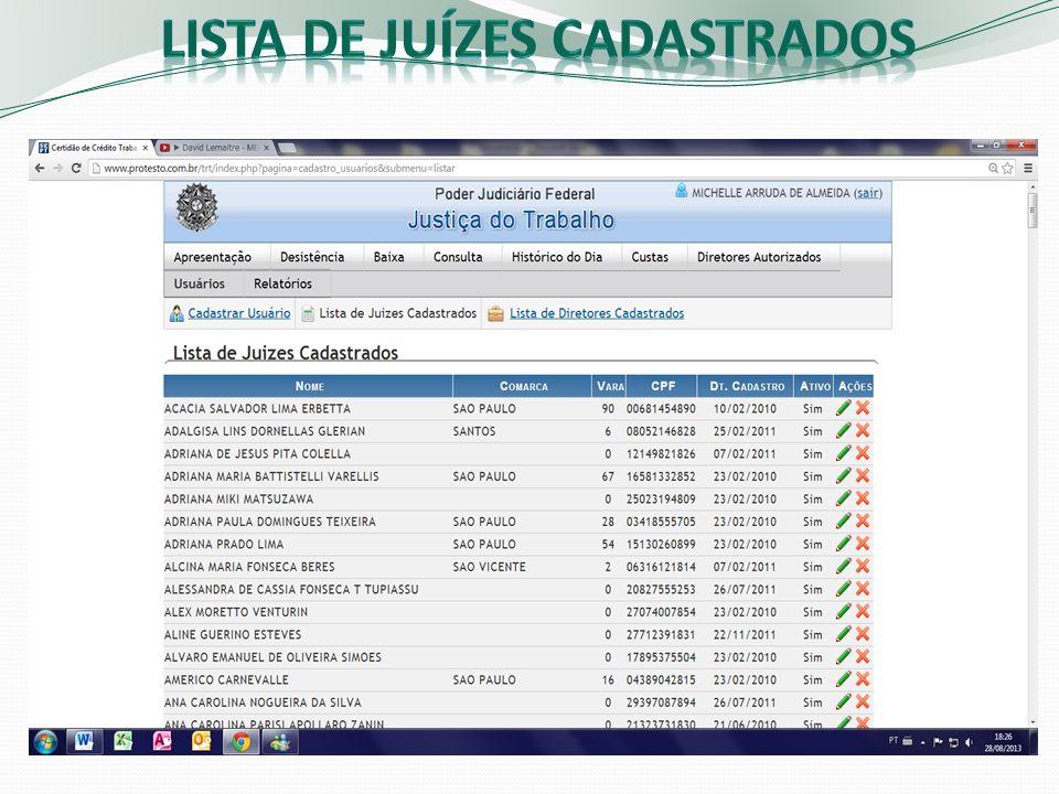 Lista de juízes cadastrados