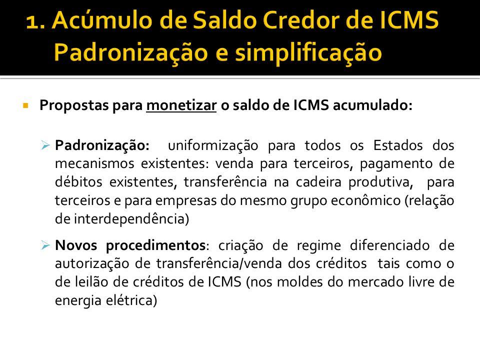 1. Acúmulo de Saldo Credor de ICMS Padronização e simplificação