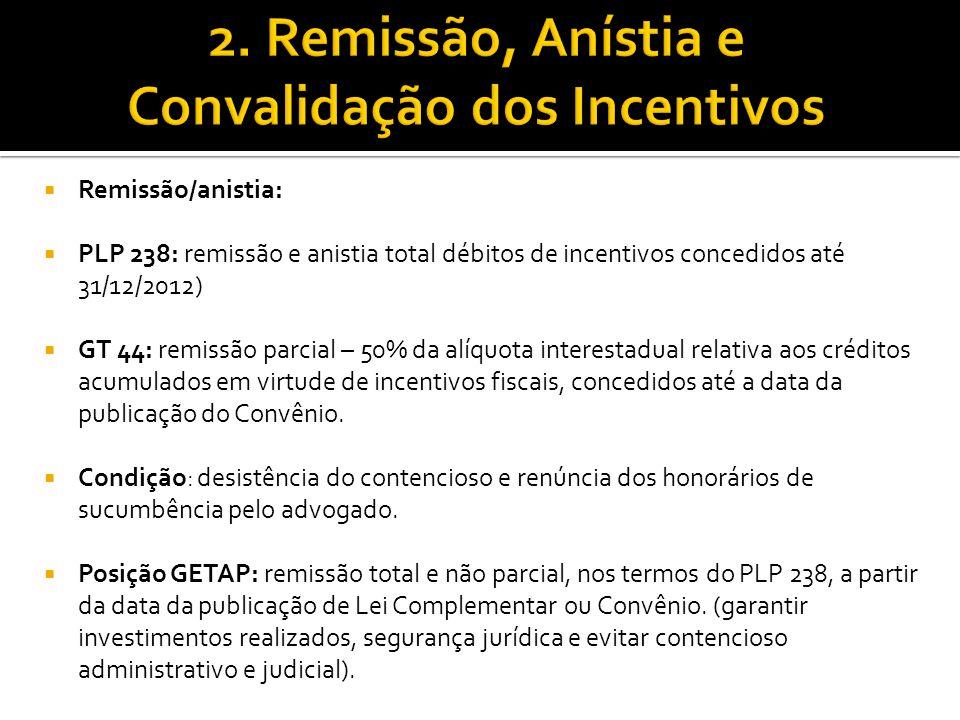 2. Remissão, Anístia e Convalidação dos Incentivos