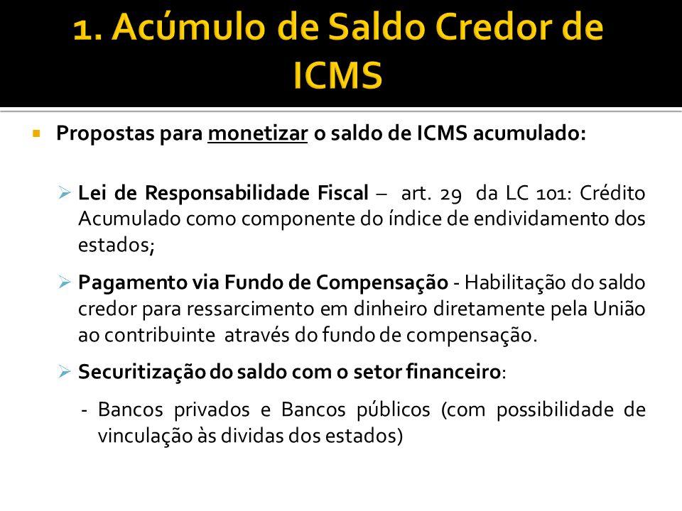 1. Acúmulo de Saldo Credor de ICMS