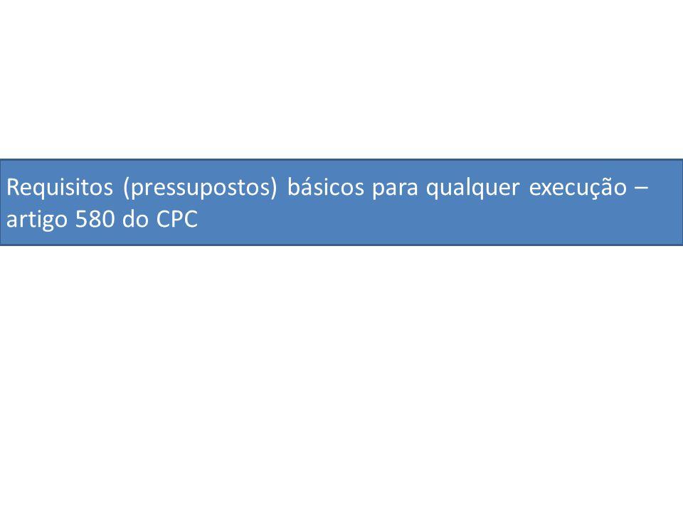 Requisitos (pressupostos) básicos para qualquer execução – artigo 580 do CPC