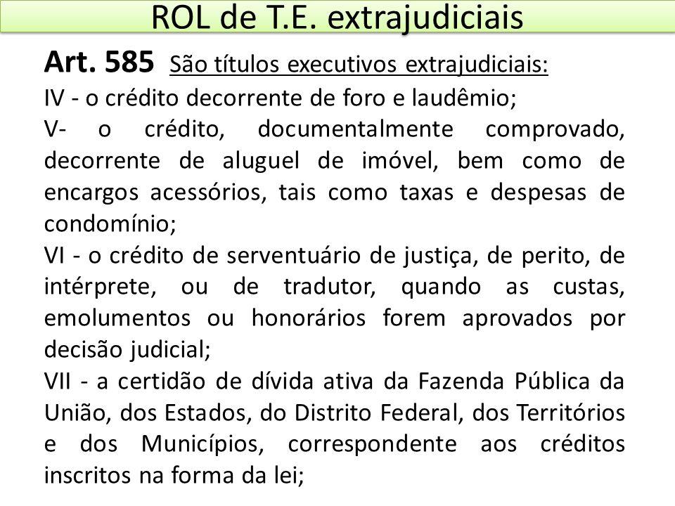 ROL de T.E. extrajudiciais